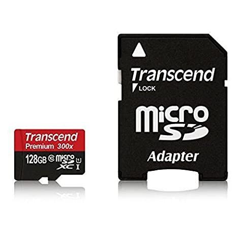 Transcend 128GB MicroSDXC Class10 UHS-1 Memory Card with Adapter 45 MB/s (TS128GUSDU1) (Microsd Card 1gb)