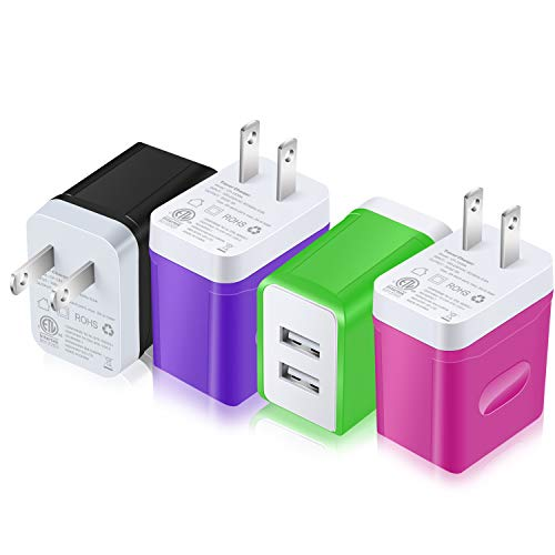 USB Wall Charger, Costyle 4 Pack 3.1 Amp 5V Dual 2 USB Port Home Travel Phone Charger Compatible iPhone Xs Max XR X 8 7 Plus se, iPad Pro, Samsung Galaxy s9 s8, LG, Moto X - Black Purple Green Rose