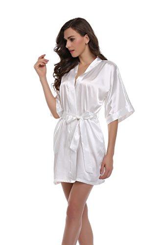 Short Silk Robe - Sunnyhu Women's Pure Color Kimono Robe, Short (S, White)