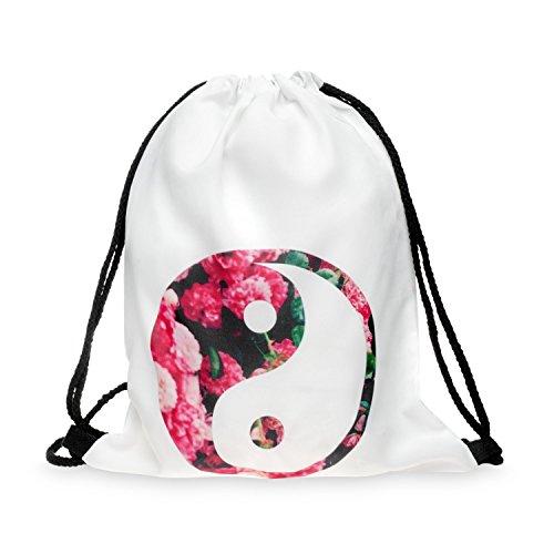 Beutel Gym Bag Tasche Jutebeutel Backbag Rucksack Sporttasche Hipster Turnbeutel Stringbag Emoji Jing Jang Roses jTBrCN