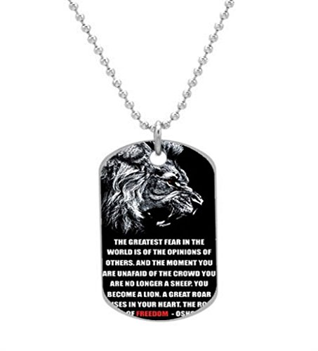 LION ROAR MOTIVATIONAL FREEDOM QUOTE Custom Dog Tag (Big) ID Pet Tag Pendant Necklace Chain By Namcha