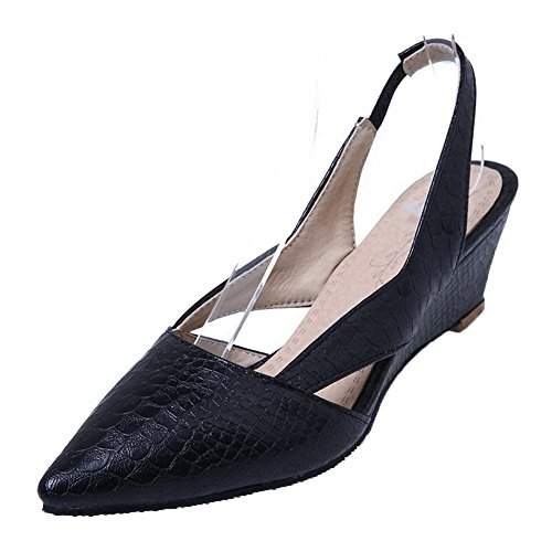 Low PU Pointed Pumps Checkered Shoes Toe Pull Black WeenFashion on Heels Women's qtXB7R