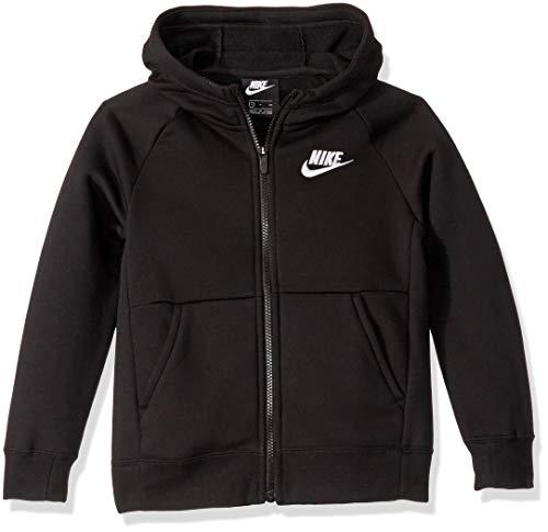 Nike Girl's NSW Full Zip Hoodie, Black/White, Large