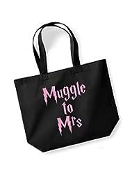 Muggle To Mrs - Large Canvas Fun Slogan Tote Bag (Black/Pink)