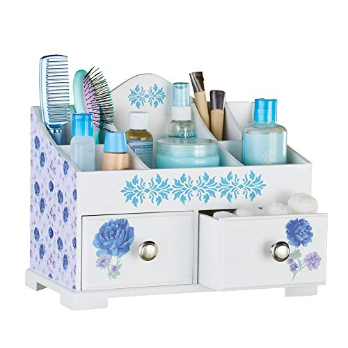 Collection Floral Print - Lovely Wooden Floral Print Tabletop Organizer with Five Compartments On Top and Two Pull-Out Drawers in Front
