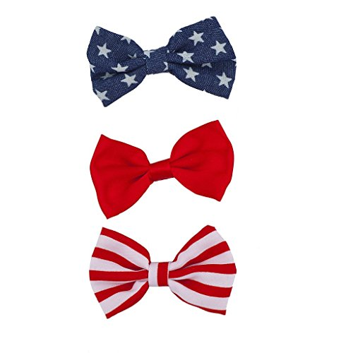 Lux Accessories July 4th Independence Day Americana American Flag Bow Pack 3Pc ()