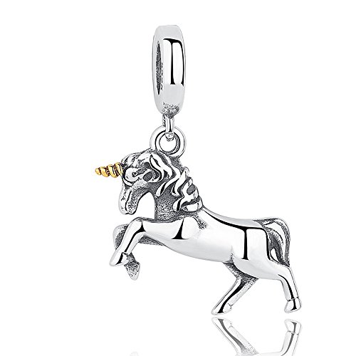 The Kiss Unicorn Dangle 925 Sterling Silver Bead Fits European Charm Bracelet (Kisses Treat)
