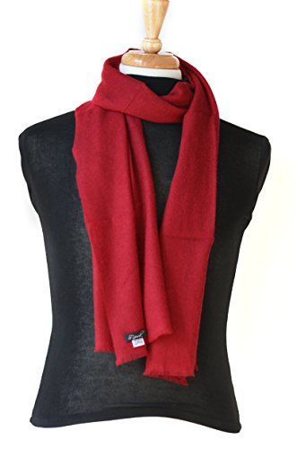 Cashmere Neck Scarf 100% Pure Lightweight Handmade for Men and Women (Maroon) by Symrik