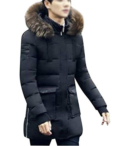 Men Casual Thicken Apparel Longsleeve Coats Fashion Fur Winter Jacket Schwarz with Derbe Outerwear Transition Coat Hood Quilted Warm pq5Pwn