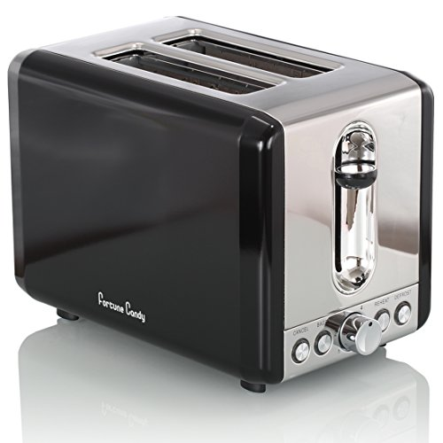 Fortune Candy Extra-Wide Slot 2-Slice Toaster Brushed Stainless Steel (Smart Black)