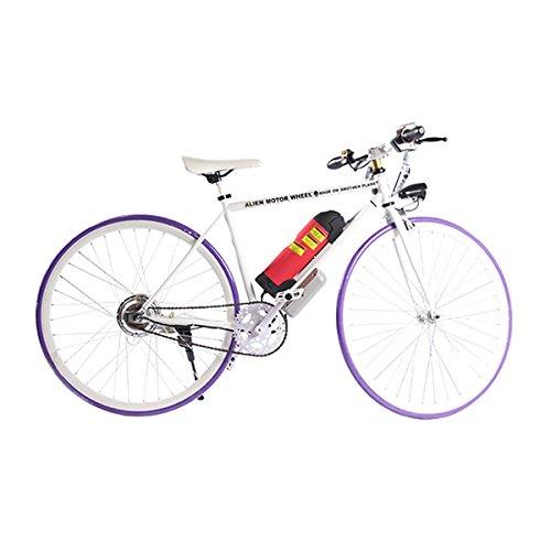 ELECTRIC Fixie Bike 350W 33MPH Alien Motor Wheels TM (WHITE/PURPLE/WHITE/HOT PINK)