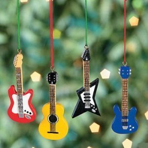 Amazon.com: Resin Guitar Christmas Tree Ornaments - Set of 4: Home ...