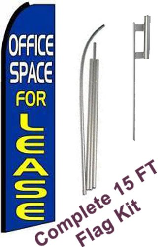 NEOPlex - ''Office Space For Lease (Extra Wide)'' Complete Flag Kit - Includes 12' Swooper Feather Business Flag With 15-foot Anodized Aluminum Flagpole AND Ground Spike by NEOPlex