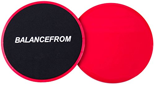 BalanceFrom Gliding Discs Core Sliders. Dual Sided Use on Carpet or Hardwood Floors. Abdominal Exercise Equipment, Set of 2 (Glider Travel System)