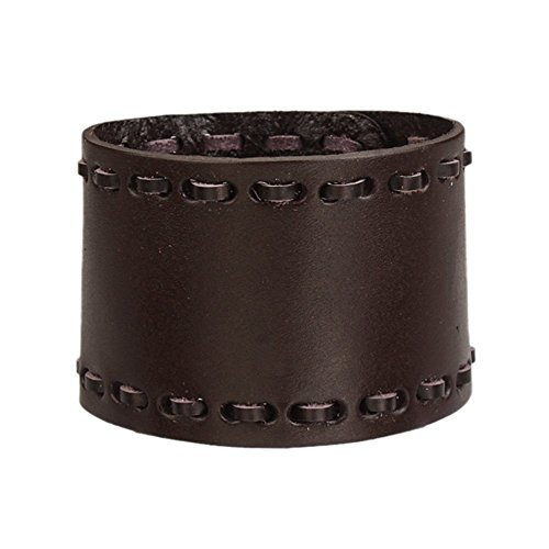 Jenia Mens Wide Genuine Leather Braided Wristband Smooth Cuff Bracelet Bangle - Genuine Leather Cuff Wrist