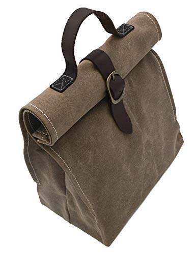 Lunch Bag   Waxed canvas   with Leather Handle   Professional or Casual. (Best Lunch Bags For Professionals)