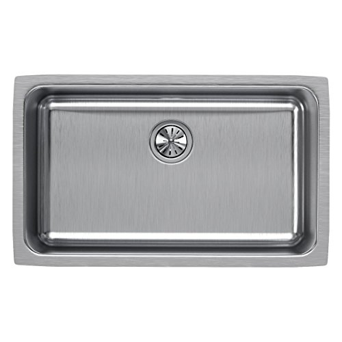 Elkay ELUH281610 Lustertone Classic Single Bowl Undermount Stainless Steel Sink (Elkay Kitchen Sinks Undermount)