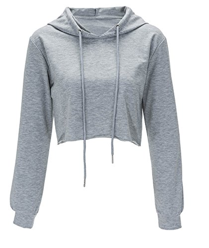 Women's Sweatshirt Pullover Hoodie Cotton Shirt Cropped Tops Gray Medium (Cropped 7)