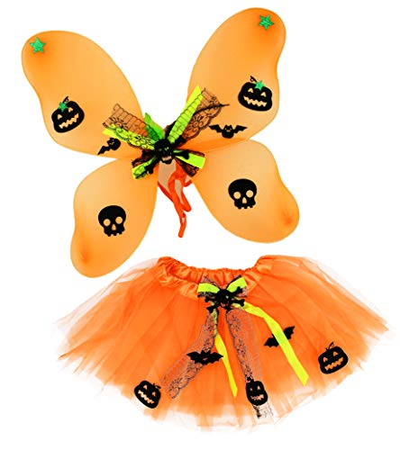 Set of Tutu Costume Set! Ice Princess, Witch, Clown, and Pumpkin Patch Fairy! Wings and Headbands! (Pumpkin Patch Fairy) ()