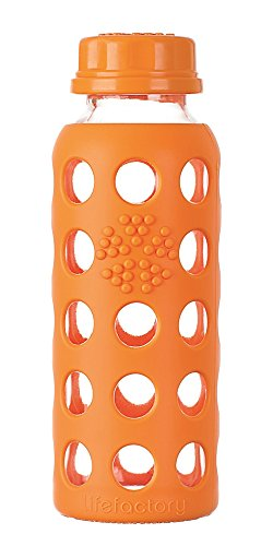 Lifefactory 9-Ounce BPA-Free Kids Glass Water Bottle with Flat Cap and Circle Patterned Silicone Sleeve, Orange