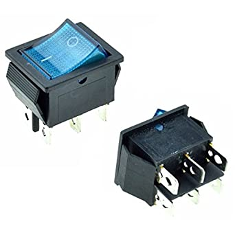 5X DPST 6-Pin Blue LED On/Off Rocker Switch Square Push-in 15A/240V  20A/120V AC