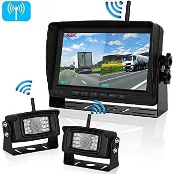 "Calmoor HDCVI Beyond 1080P Wireless Backup Camera and 7/""Monitor Kit IP69K Waterproof Rear View Camera Night Vision Reverse Camera for Truck Semi-Trailer No Delay No Interference"