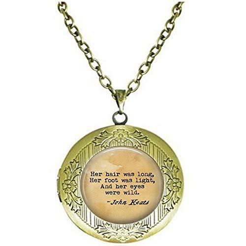 stap John Keats La Belle Dame Sans Merci poem locket Necklace - Her hair was long, Her foot was light her eyes were - Belle Keats La