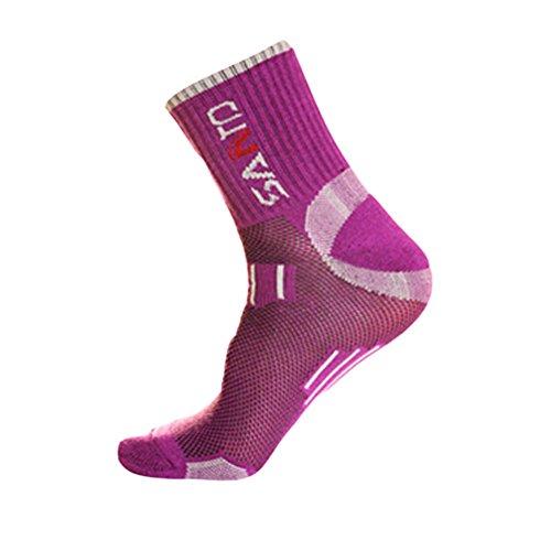 [Purple] Quick-Dry Hiking Socks Women Coolmax Sports Socks One Size M(8.6-9.8'')