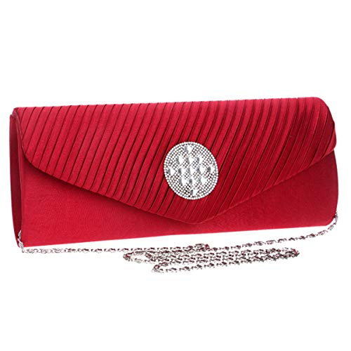 Clutch Bridal Wallet Dress Womens Bag Evening Purses PU Ladies Shoulder Red Chain Bags ERnvqwXHx