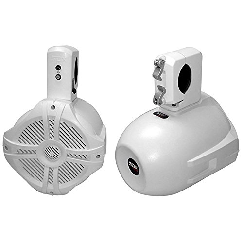 "SDX Pro Audio - 6.5"" 250W Wireless Marine Speaker System (Pair) - Wakeboard Tower/Waketower and Rollbar/Rollcage Compatible - Rechargeable & Easy to Install"