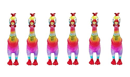 Animolds Mini Tie Dye Screaming Chicken Non Toxic Rubber Chicken Toy Best Chicken Toys for Kids and Adults Party Value Pack (6-Pack) -