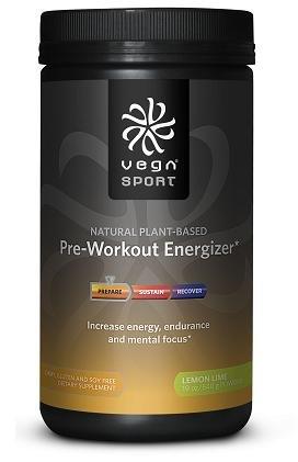 Vega Sport Pre-Workout Energizer Lemon Lime (19oz, 30 Servings) - Vegan, Gluten Free, All Natural, Pre Workout Powder, Non GMO