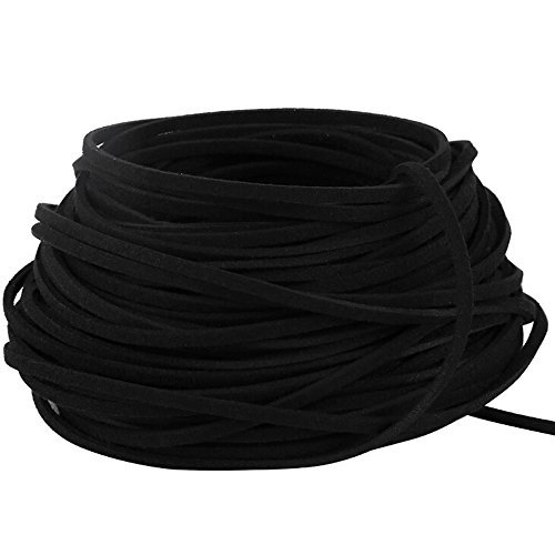 Navifoce Genuine Flat Suede Leather Cord Lace Beading Craft Thread String, 3mm, 20m Spool (Black) (Thick String)