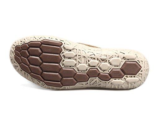Scarpe Da Uomo Humgfeng Mesh Casual Scarpe In Pelle Traspirante Comfort Per Uomo Kaki