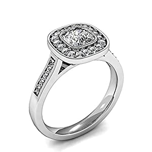18K White Gold Full Bezel Setting Side Stone Halo Engagement Ring Size - 5.75