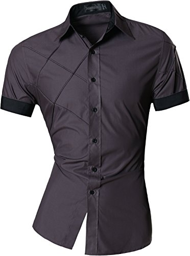 jeansian Homme Chemises Casual Shirt Tops Mode Men Slim Fit Z003 (X-Large, Gray)