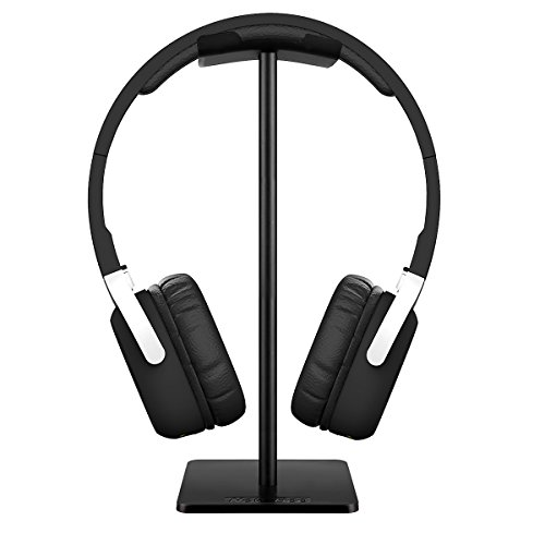 Headset Holder,Fingic Headphone Stand, Aluminum Slim Earphone Stand with Flexible Headrest ABS Solid Base for All Headphones Size,Black Review