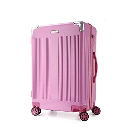 GaoMiTA High-end PC Drawing Rod Luggage Suitcase Universal Wheel Suitcase 20 inch 22 inch 24 inch 26 inch Color : Pink, Size : M