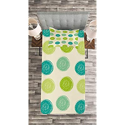 Ambesonne Abstract Bedspread, Hand Drawn Circles Childish Geometric Modern Creative Sketchy Ovals, Decorative Quilted 2 Piece Coverlet Set with Pillow Sham, Twin Size, Beige Apple Green Teal: Home & Kitchen