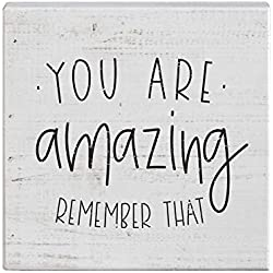 "Simply Said, INC Small Talk Sign 5.25"" Wood Block Plaque - You are Amazing, Remember That"