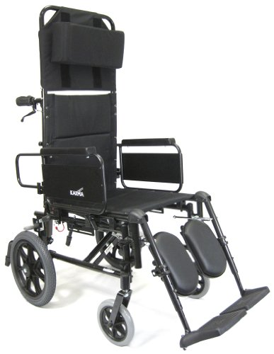 Karman Recliner Wheelchair with Transport Wheels in 18 inch Seat, Black Frame
