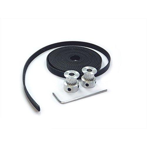 T&B Gt2 2 Meters Timing Belt and 2 X Aluminum 20t 8mm Pulleys Set for Reprap 3d Printer Prusa i3 Kossel Rostock TAZ MendelMax etc