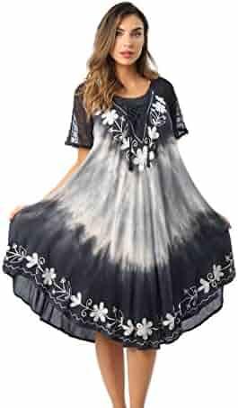 bc1ab059c7 Riviera Sun Tie Dye Summer Dress with Raglan Eyelet Sleeve & Embroidery