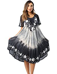 Tie Dye Summer Dress With Raglan Eyelet Sleeve & Embroidery