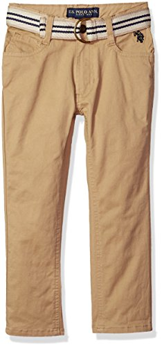 U.S. Polo Assn. Little Boys' Straight Leg Jean, Stripe Belt Dye Ring Dark Khaki, 7