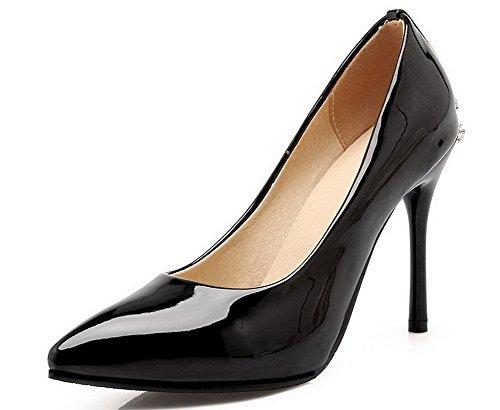 VogueZone009 Damen Rein PU Leder Spitz Zehe Stiletto Ziehen auf Pumps Schuhe Schwarz