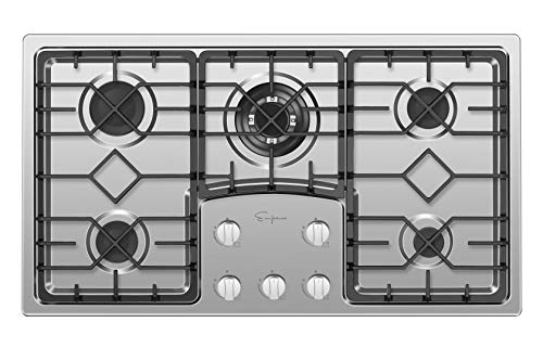 Empava EMPV-36GC5B9S 36″ Recessed Gas Stove Cooktop with 5 Italy SABAF Sealed Burners NG/LPG Convertible in Stainless Steel, 36 Inch
