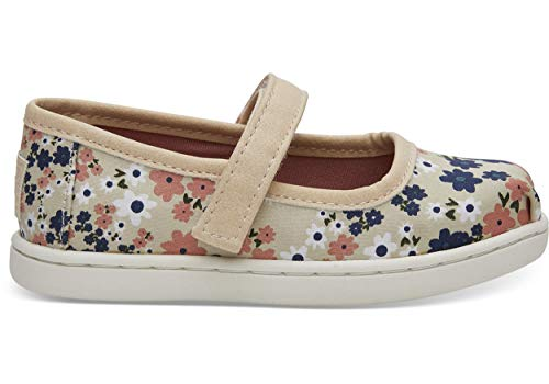(TOMS Tiny Toddlers Mary Jane Birch/Retro Floral Slip-On Shoe 2 Infants US)