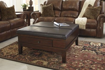 Coffee Table Storage Ottoman - Ashley Furniture Signature Design - Gately Ottoman Coffee Table with Lift Top - Storage Compartments - Vintage Casual - Medium Brown