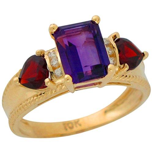 14k Yellow Gold Genuine Amethyst Garnet and Diamond Accented Ladies Fancy (Fancy Cut Amethyst Ring)